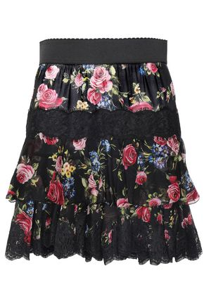 DOLCE & GABBANA Tiered floral-print voile mini skirt