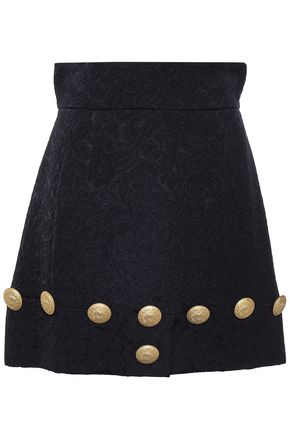 DOLCE & GABBANA Button-embellished jacquard mini skirt