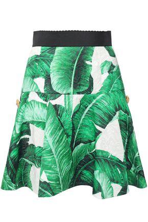 DOLCE & GABBANA Embellished floral-print cotton and silk-blend matelassé mini skirt