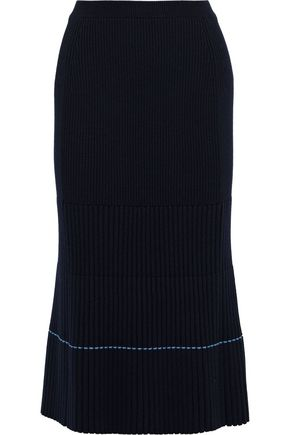 Ribbed Knit Midi Skirt by Victoria Beckham
