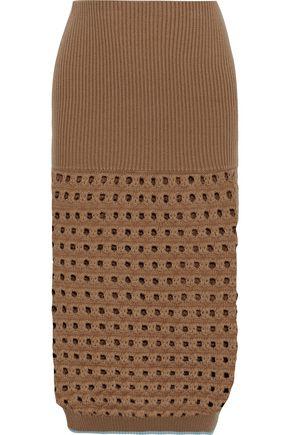 VICTORIA BECKHAM Crochet knit-paneled ribbed wool-blend skirt
