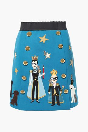 DOLCE & GABBANA ボタン&アップリケ付き ウール混クレープ ミニスカート