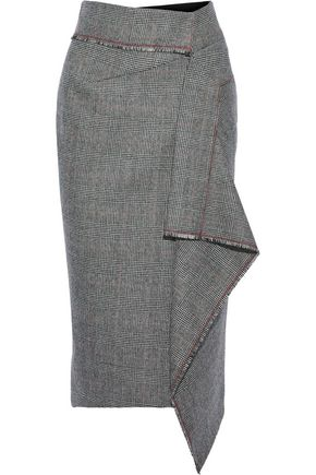 ROLAND MOURET Peterson draped Prince of Wales checked wool pencil skirt