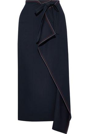 ROLAND MOURET Fellini draped twill midi skirt