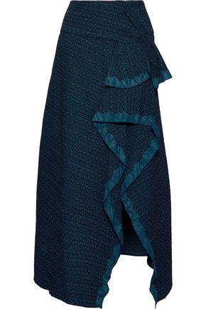 ROLAND MOURET Jonze asymmetric draped jacquard midi skirt