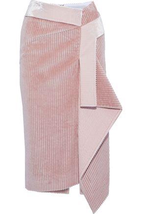 ROLAND MOURET Peterson asymmetric two-tone cotton-corduroy skirt