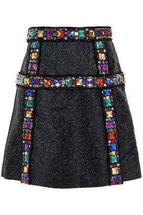 DOLCE & GABBANA Embellished matelassé mini skirt
