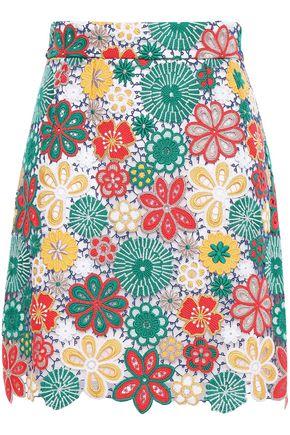 DOLCE & GABBANA Guipure lace-appliquéd tulle mini skirt