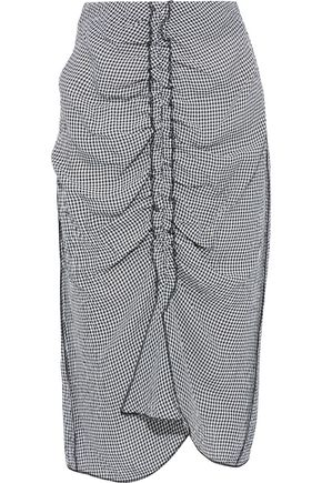 JASON WU Ruched gingham crinkled-voile pencil skirt