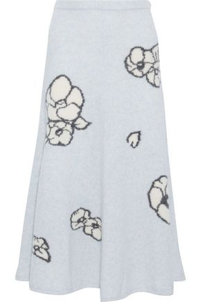 ADAM LIPPES Intarsia cashmere and silk-blend midi skirt