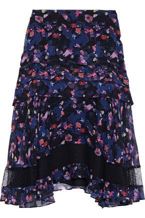 JASON WU Ruffled floral-print crinkled silk-chiffon skirt
