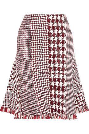 OSCAR DE LA RENTA フリンジトリム ハウンドトゥースツイード スカート