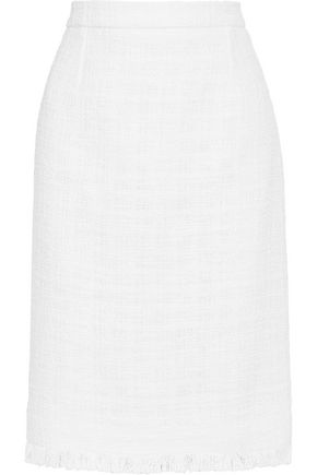 OSCAR DE LA RENTA Cotton-blend bouclé-tweed pencil skirt