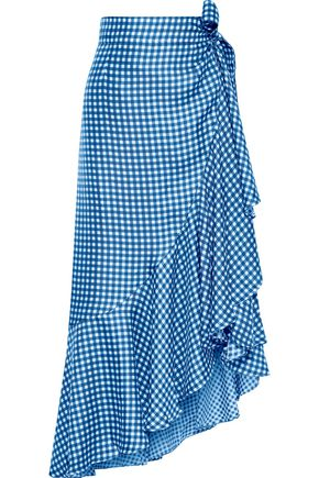 PAPER London Lagos ruffled gingham silk-twill midi wrap skirt