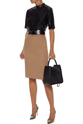 Max Mara Skirts MAX MARA WOMAN OLIVETO CAMEL HAIR PENCIL SKIRT TAN