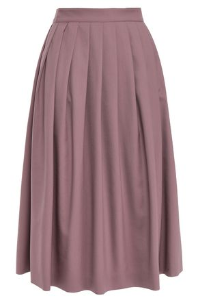 AGNONA Pleated wool and cashmere-blend twill skirt