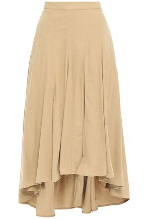 MASSCOB Ruffled brushed slub silk midi skirt