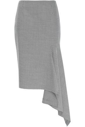 BALENCIAGA Asymmetric draped houndstooth felt midi skirt