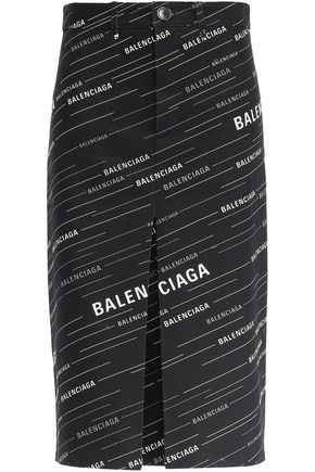 BALENCIAGA Printed cotton-gabardine pencil skirt
