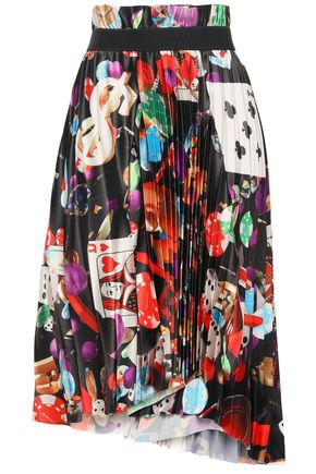 BALENCIAGA Asymmetric pleated printed stretch-satin skirt