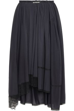 BALENCIAGA Asymmetric lace-trimmed gathered stretch-jersey skirt