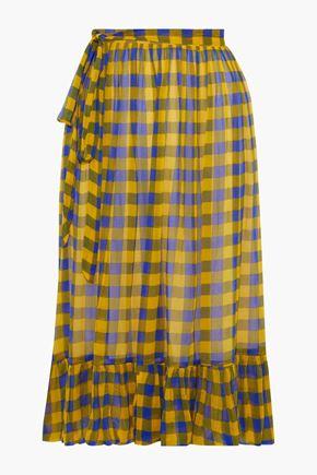 BAUM UND PFERDGARTEN Selda bow-detailed pleated polka-dot georgette skirt
