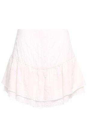 MERLETTE Julep tiered cotton-blend mini skirt