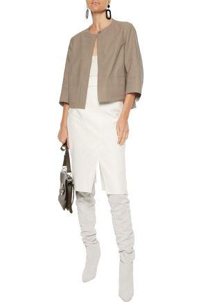 Akris Skirts AKRIS WOMAN BUCKLED COTTON-BLEND TWILL PENCIL SKIRT WHITE