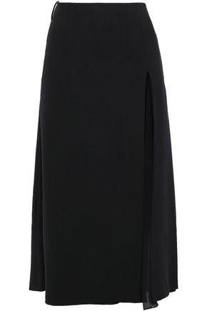 CAROLINA HERRERA Silk georgette-paneled stretch wool-crepe midi skirt