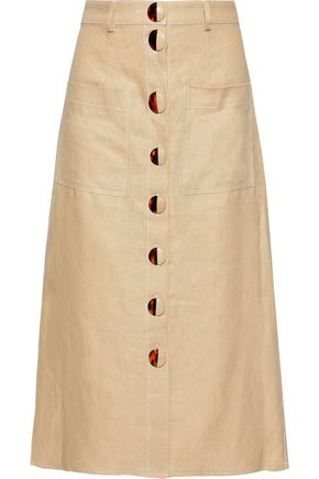 NICHOLAS Button-detailed linen midi skirt
