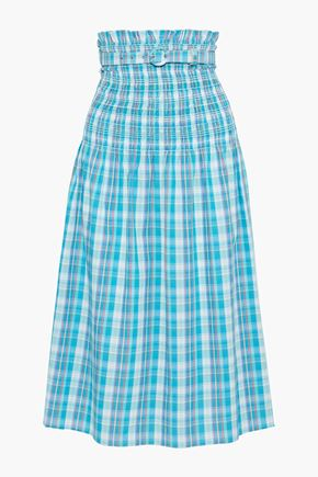 NICHOLAS Belted shirred checked crinkled-cotton midi skirt