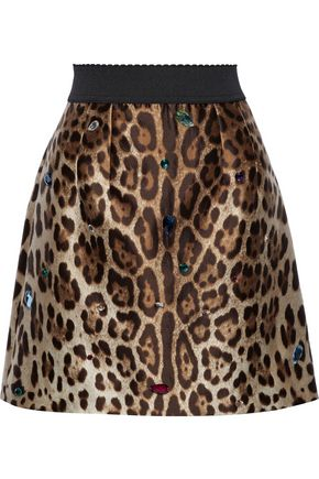 DOLCE & GABBANA クリスタル付き レオパードプリントシルク&ウール混 ミニスカート