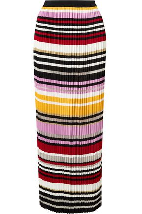 CAROLINA HERRERA Pleated striped knitted maxi skirt