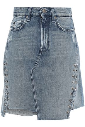 7 FOR ALL MANKIND Asymmetric embellished distressed denim mini skirt