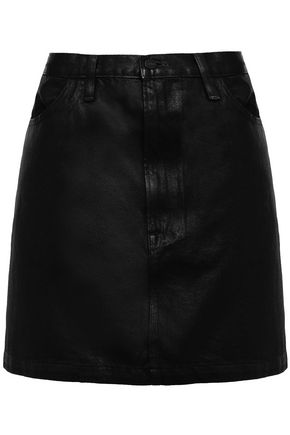 FRAME Coated denim mini skirt