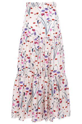 BORGO DE NOR Wrap-effect frayed striped cotton-blend midi skirt
