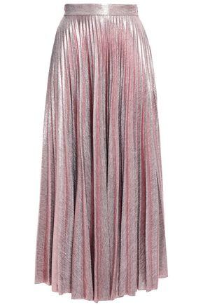 EMILIA WICKSTEAD تنورة متوسطة الطول من قماش لاميه بتجعيدات رفيعة