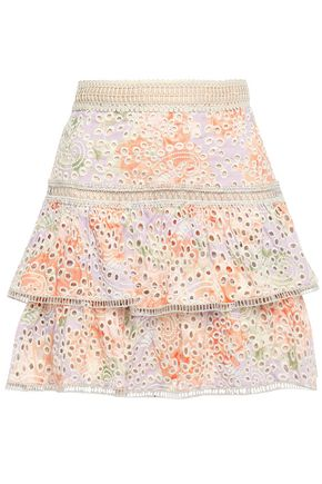 ALICE + OLIVIA Kirsten tiered floral-print broderie anglaise modal mini skirt