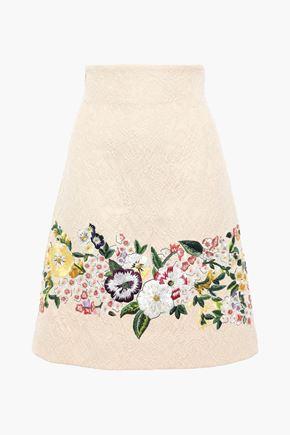 DOLCE & GABBANA Embroidered cotton-blend cloqué skirt