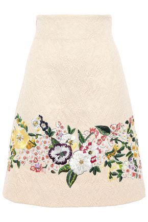 DOLCE & GABBANA 刺繍入り コットン混ふくれ織り スカート