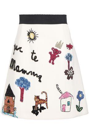 DOLCE & GABBANA 装飾付き 刺繍入り クレープ ミニスカート