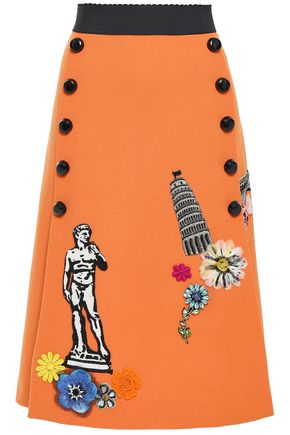 DOLCE & GABBANA 装飾付き 刺繍入り クレープ スカート