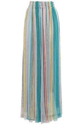 MISSONI Gathered striped crochet-knit maxi skirt