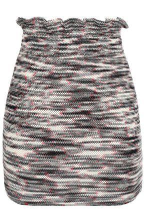 ミッソーニ ラッフルトリム 混紡ウールオープンニット ミニスカート