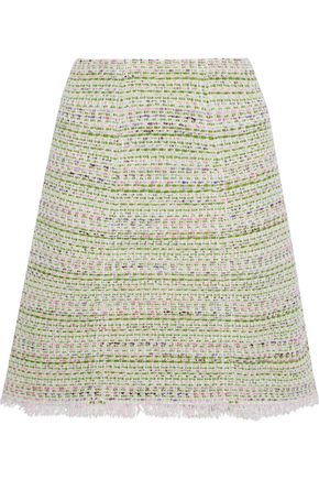 GIAMBATTISTA VALLI Frayed cotton-blend tweed skirt