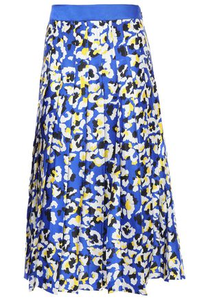 MARY KATRANTZOU Nyx pleated printed satin-twill midi skirt