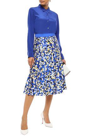 Mary Katrantzou Woman Nyx Pleated Printed Satin-Twill Midi Skirt Royal Blue