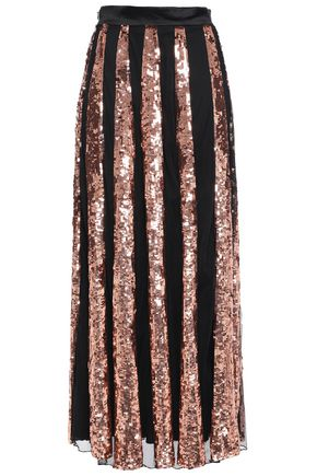 TEMPERLEY LONDON Sycamore sequined striped tulle maxi skirt