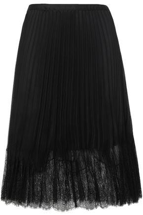 McQ Alexander McQueen Lace-trimmed pleated chiffon midi skirt