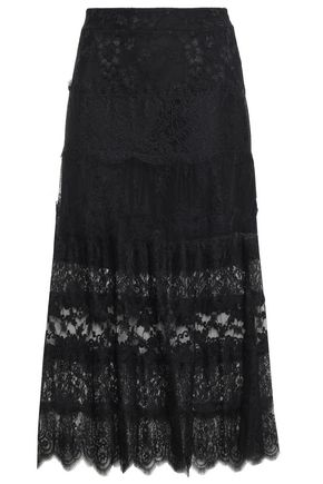 McQ Alexander McQueen Paneled Chantilly and Leavers lace midi skirt